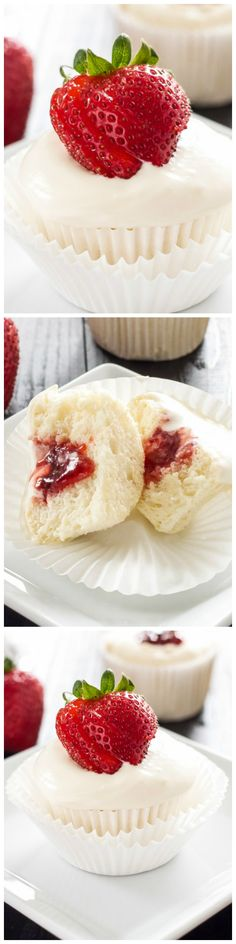 Angel food cupcakes filled with strawberry jam and topped with a lick the bowl good whipped cream-cream cheese frosting! Top them with a fresh strawberry for the perfect celebratory cupcakes!
