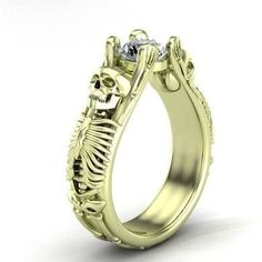Incredible Green Gold (Electrum) Skull Engagement Ring