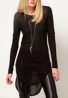 Black Round Neck Long Sleeve Asymmetrical T-Shirt