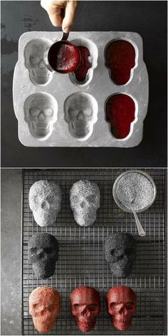 Skull Cake Molds from Williams-Sonoma. When it comes to making Halloween desserts, six heads are better than one. Our plaque makes it easy to conjure up half-a-dozen petite skulls. Fiendish features include deep eye sockets and toothy grins that are quite Halloween Desserts, Postres Halloween, Halloween Food For Party, Spooky Halloween, Diy Halloween Decorations For Your Room, Cute Halloween Treats, Halloween Coffin, Paper Halloween, Outdoor Halloween