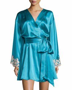 bcc6a8e715 La perla maison lace-trim short robe turquoise  995
