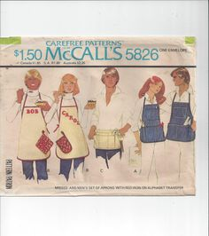 McCall's 5826 Pattern for Misses' & Men's Set of Aprons with Iron On…