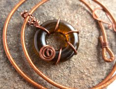 Upcycled Eco Friendly Recycled Kiln Fired Beer Bottle Top Glass Circle of Life Copper Leather Cord by LttleEvrydyCreations on Etsy