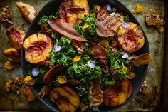 Grilled Peach Kale Salad with Honey Almond Clusters, and Crispy Prosciutto