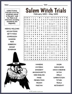 SALEM WITCH TRIALS Word Search Puzzle Worksheet Activity by Puzzles to Print Salem Witch Trials, History For Kids, Crossword Puzzles, Fun Activities For Kids, Satan, Word Search, Worksheets, Teaching, Fun Kids Activities