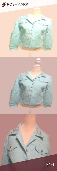 Laura Ashley Jacquard Bling Jacket Laura Ashley Jacket Pale Blue w Bling Buttons and Silver Studded Accents Sz- SP  Light Blue Jean Style Jacket with Floral Embroidery   Silver Studded Collar and  Cuffs Hems  Diamond Bling Button Up with Diamond Bling Buttons on Cuffs  2 Front Mock Flap Pocket w/ Diamond Bling Buttons  Nice Tailored Seams Front and Back  High Quality Material of 98% Cotton and 2 % Spandex  Laura Ashley London Size Chart for PS   Small Petite Numeric 4-6 Bust 33-34 Waist…