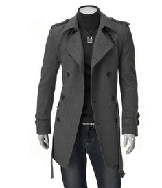 Free shipping M-XXXL hot selling  men Korean fashion coat with wool of long double breasted trench latest style rench $30.25 - 33.17