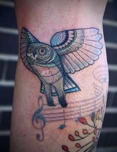 owl tattoo by david hale, athens GA