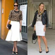 That $15 #leopardprint top tho. 😍 Link in my profile to shop it + 10 more options!! 🐆🐆#leatherjacket #whiteskirt #officestyle #pencilskirt #budgetfashion #lookforless #outfitinspo #fashionblogger #jseverydayfashion