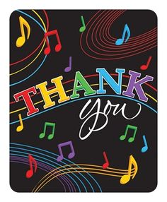 Dancing Music Notes Thank You Cards|Fast Shipping|8 per package