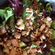 """Yummy lunch at """"Mad Greens"""": salad w salmon, bacon, apples, pears and blue cheese crumbles."""