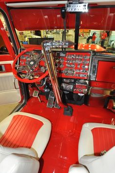 The viper red scheme is carried through the interior.