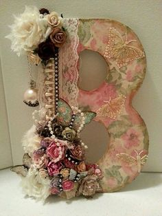 Shabby Chic Monogram Embellished With Roses and Pearls