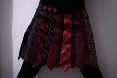 Upcycle ties into a skirt. I love the button detailing!