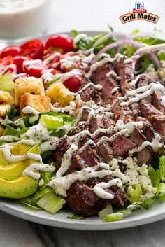 Montreal Steak seasoning brings bold flavor to this delicious grilled steak salad recipe. Top with a blue cheese dressing made with Greek yogurt for a new favorite summer salad.