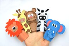 Felt finger puppets Zoo Mates - set of 5. via Etsy.