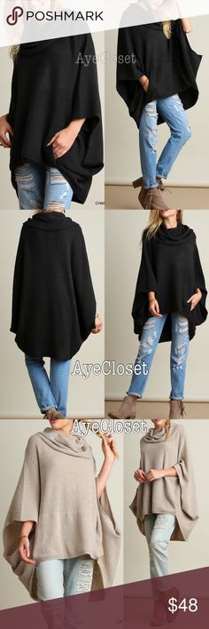 Poncho cape sweater cardigan coverup cowl neck NWT Trendy Oversized loose fit stunning poncho cape cowl neck sweater cardigan.  Sexy Coverup. Pairs with jeans , basic leggings and sexy leathers leggings. Fabric content : cotton 60% and 40%spandex. Lightweight comfy fabric. New with tags.retail item. ‼️️Two colors to choose from dark charcoal or oatmeal.please mention color choice  when purchasing ‼️Price is firm unless bundled‼️ Boutique Sweaters Shrugs & Ponchos