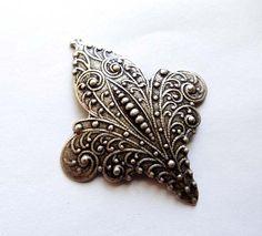 Oxidized Silver Fleur-de-Lis Stamping