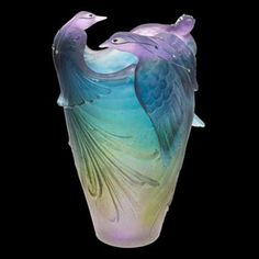 """Daum Crystal Bird of Paradise Jewel Vase. Each Daum Crystal art work creation is signed with """"Daum France"""" and numbered by hand. Since 1878 Daum has been crafting world-renowned beauty in lead crystal using rare and ancient techniques. Art Nouveau, Art Of Glass, Glass Artwork, Crystal Vase, Glass Ceramic, Objet D'art, Antique Glass, Vases, Sculptures"""