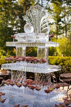 Turning Stone Ice Sculpture - Ice Shelves and Seashell with Pearl for Shrimp Cocktail Display