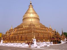 The #Shwezigon #Pagoda is a  is a Buddhist #temple located in Nyaung-U, a town near #Bagan, in #Burma (Myanmar). The pagoda was built in 1059 by King Anawrahta to #house a jaw bone and a tooth of the #Buddha that he had obtained at the end of his campaign against the Kingdom of Dali.  © Jean-Pierre Nadir