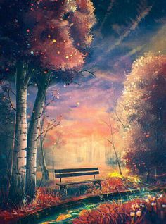 Diamond Painting Autumn Forest Bench Paint with Diamonds Art Crystal Craft Decor Fantasy Landscape, Landscape Art, Fantasy Art, Japon Illustration, Art Anime, Anime Scenery, Wallpaper Backgrounds, Amazing Art, Cool Art