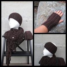 Strikket og heklet sett - 3 deler - one size, mørkbrunt Alpacas, Fingerless Gloves, Arm Warmers, I Shop, Crochet Hats, Fingerless Mitts, Cuffs, Fingerless Mittens