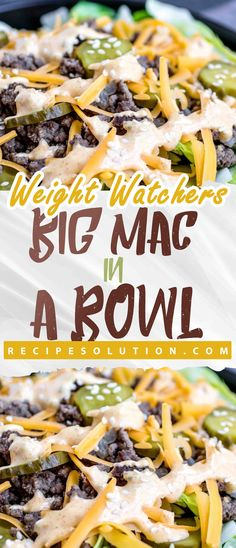 This easy Low Carb Big Mac Bowl is a keto recipe with all of the flavors of your favorite fast food burger complete with special sauce! all your favorite flavors of Mcdonald's Big Mac burger combined into a salad. It is loaded Weight Loss Meals, Weight Watcher Dinners, Weight Watcher Desserts, Weight Watcher Recipes Easy, Weight Watchers Recipes With Smartpoints, Ww Recipes, Low Carb Recipes, Healthy Recipes, Chicken Recipes