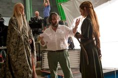 Evangeline Lilly bts with director Peter Jackson and Lee Pace  The Hobbit The Desolation Of Smaug