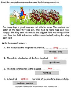 Reading Comprehension King and His Army Worksheet 2nd Grade Reading Worksheets, Kindergarten Reading, Kindergarten Worksheets, English Moral Stories, English Story, English Grammar, Reading Comprehension Passages, Comprehension Worksheets, Grammar Anchor Charts