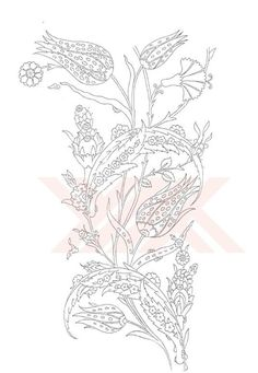 Folk Embroidery Patterns Turkish Motifs and patterns Jacobean Embroidery, Embroidery Motifs, Embroidery Designs, Turkish Art, Lesage, Black And White Drawing, Motif Floral, Motif Design, Tile Art