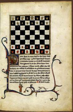 Nicholes de S. Nicholaï de Lombardie, Le Gieu des eskies. Manuscrit copié et peint à Paris, début du XIVe siècle. Parchemin (206 feuillets). Paris, BNF, Manuscrits (fr. 1173 fー 3)