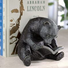 Reading Bear Bookend - Book End, Bookend - Levenger    ...and this too! I want this! I want a book house. :)