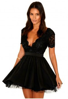 Aleena Lace Plunge Neck Puffball Dress. For NYE, I'm so in love with this!
