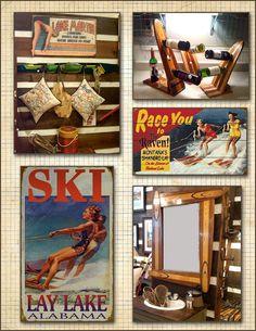 Seibels Cottage: Decorating with Vintage Water SKis Water Ski Decor, Buy A Boat, Cottage Signs, Vintage Cabin, Lake Decor, Lake Signs, Lake Cabins, Beach Cottages, Decoration