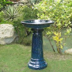 Blue Ceramic Bird Bath
