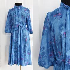 #Vintage #70s Shirt #Dress Size L Large Blue by AmbassadorGrooviness