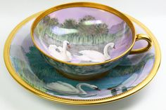 Dresden A. Lamm Swans Cup and Saucer