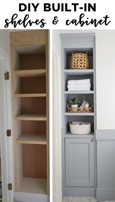 How to build built in bathroom shelves and a cabinet for your bathroom! DIY built in shelves adds both functional bathroom storage and pretty storage! A perfect small bathroom storage idea! storage DIY Built In Bathroom Shelves and Cabinet Small Bathroom Storage, Bathroom Closet, Upstairs Bathrooms, Diy Bathroom Decor, Bathroom Renos, Bathroom Interior, Shelving In Bathroom, Bathroom Organization, Built In Bathroom Storage