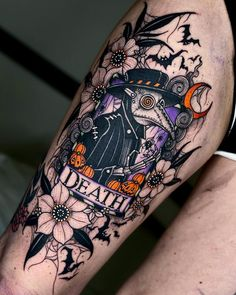 Pretty Skull Tattoos, Unique Tattoos, Beautiful Tattoos, Cool Tattoos, Skull Tattoo Design, Tattoo Design Drawings, Tattoo Designs, Cute Halloween Tattoos, Spooky Tattoos