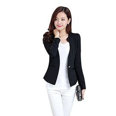 557e9774ed3 New Women Slim Blazer Coat Fashion Casual Jacket Long Sleeve One Button  Suit Ladies Blazers Large Size Work Wear 5 Color-Enso Store-Black-L-Enso  Store