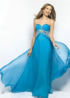 Flowy blue prom dress! | Blush Prom 9545