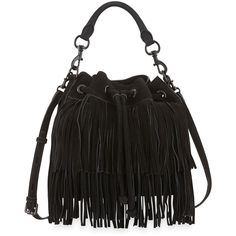 Rebecca Minkoff Fiona Suede Fringe Bucket Bag ($365) ❤ liked on Polyvore featuring bags, handbags, shoulder bags, black, black purse, fringe handbags, black fringe handbag, suede fringe handbag und drawstring bucket bag