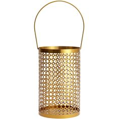 H&M Metal lantern (£8) ❤ liked on Polyvore featuring gold