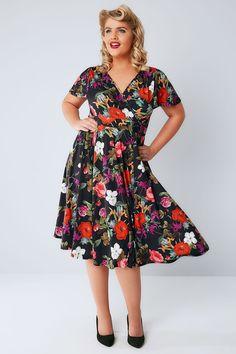 a2812ee5cb LADY VOLUPTUOUS Black   Multi Floral Print Lyra Dress Plus Size Party  Dresses