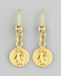 Petite Goddess Coin Drop Earrings by Dominique Cohen at Neiman Marcus.