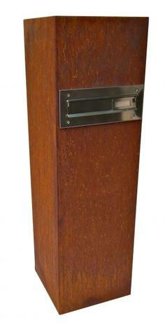 Metall - (Rostsäule) Edelrostsäule mit Briefkasten 100x30x3 - ein Designerstück von dekotall bei DaWanda