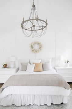 A Modern Home in the Wine Country ~ Stace King Wood Chandelier, Beaded Chandelier, Bedroom Sets, Master Bedrooms, White Bedroom, Home Trends, Fixer Upper, House Tours, Shades