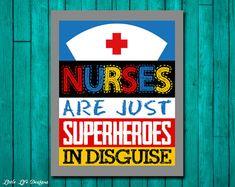 Nurse Gift. Nurses are Superheroes in Disguise. Gift for Nurse Graduate. Nurse Decor by LittleLifeDesigns