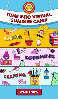 ARM & HAMMER™ Baking Soda is the secret ingredient to your summer! Join us for our free, on-demand virtual summer camp packed with activities for kids. Follow along as our camp counselors walk you through 15 camp activities the kids will love and you'll love to watch. We can't wait to kick back and camp with you. Tune in! Camping Activities, Craft Activities For Kids, Summer Activities, Learning Activities, Preschool Activities, Kids Learning, Camping Games, Indoor Activities, Family Activities